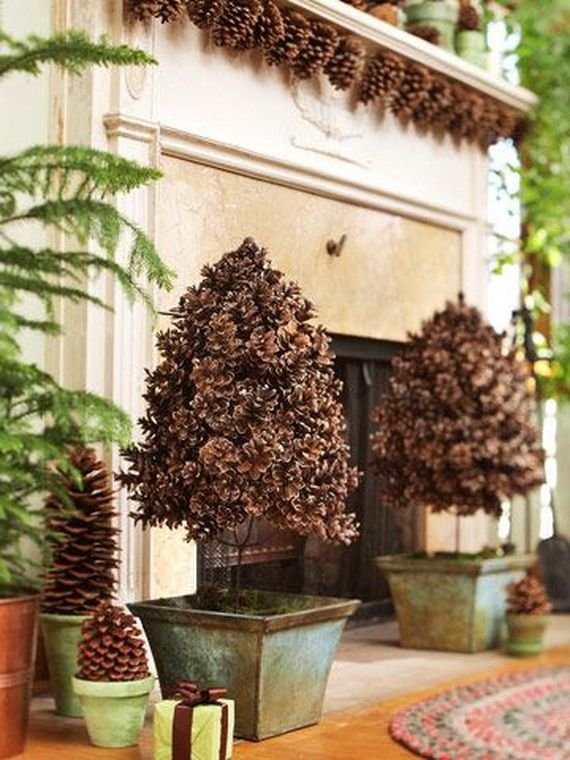 35 Gorgeous Holiday Mantel Decorating Ideas with Pine cones_19