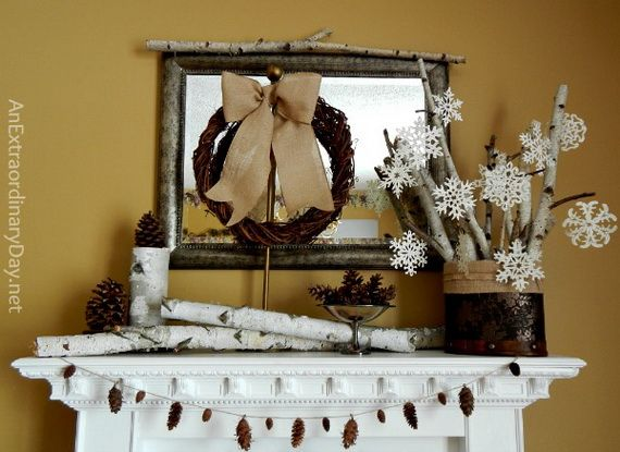 35 Gorgeous Holiday Mantel Decorating Ideas with Pine cones_21
