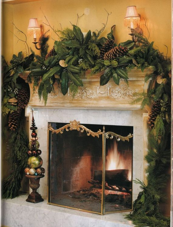 35 Gorgeous Holiday Mantel Decorating Ideas with Pine cones_30