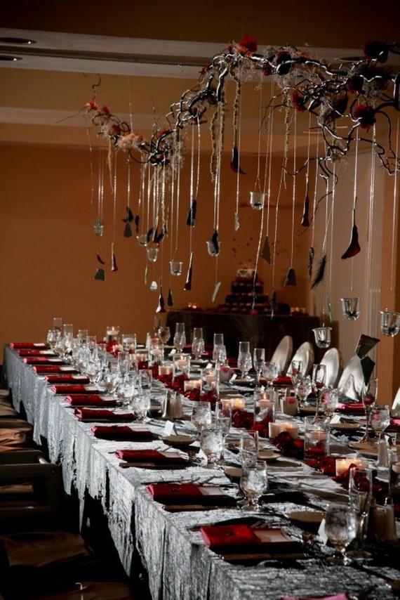 Whimsical Spooky Halloween Table Decoration Wedding Ideas _56