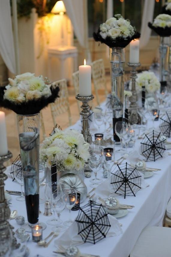 Whimsical Spooky Halloween Table Decoration Wedding Ideas _57