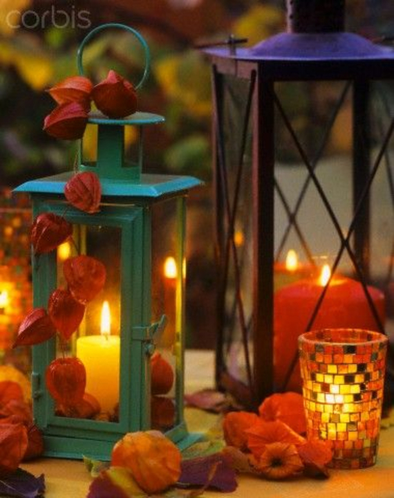 Cool Orange Fall &Thanksgiving Decorating Ideas with Chinese Lanterns  (5)