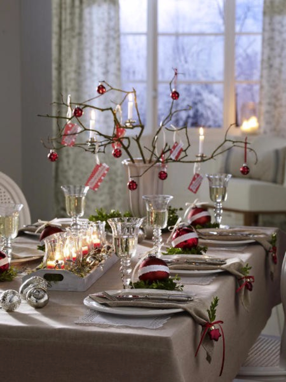 DIY Christmas Table Setting& Centerpieces Ideas (30)