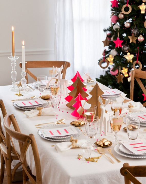 Fairy Dining Christmas Decor In Pink And Gold  (3)