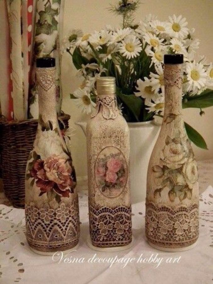 decorate Glass bottles with Decoupage (11)