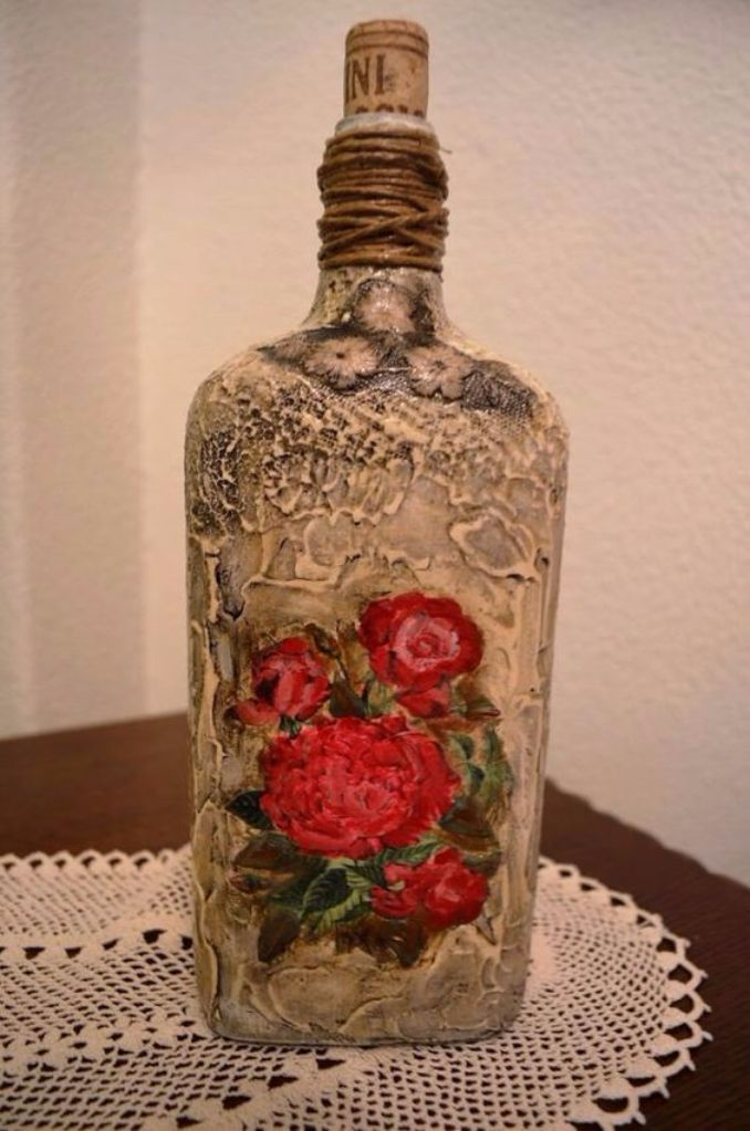 decorate Glass bottles with Decoupage (12)