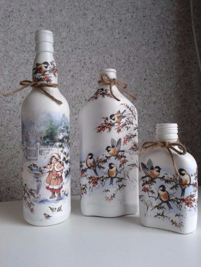 decorate Glass bottles with Decoupage (16)