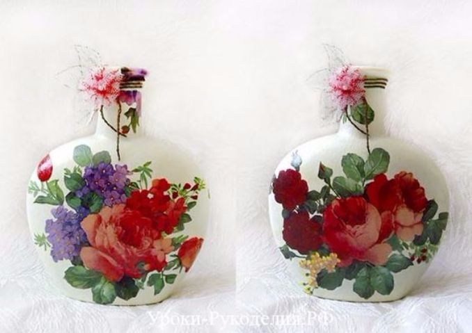 How To Decorate Glass Bottles With Decoupage Diy Recycle