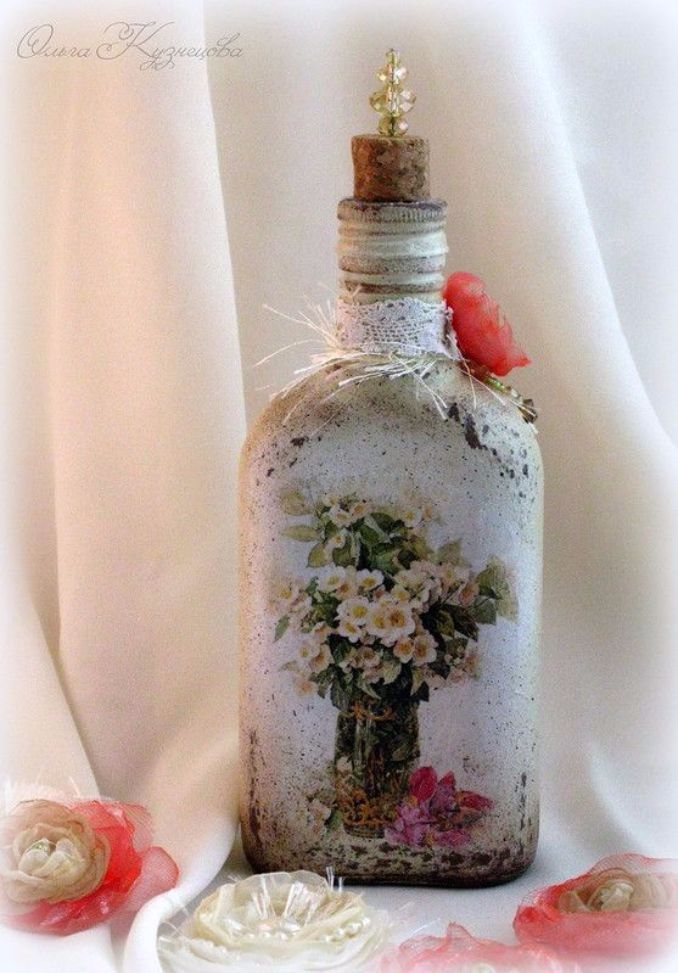 decorate Glass bottles with Decoupage (8)