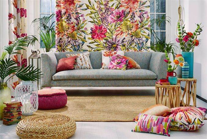 3-Harlequin-Fabrics-Fauvisimo-floreale-pink-green-blue-floral-painterly-sgraffito-vito-upholstery-curtain-cushions-trattino-stripe-cushion