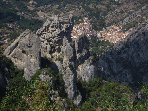 View of Castelmezzano from Pietrapertosa