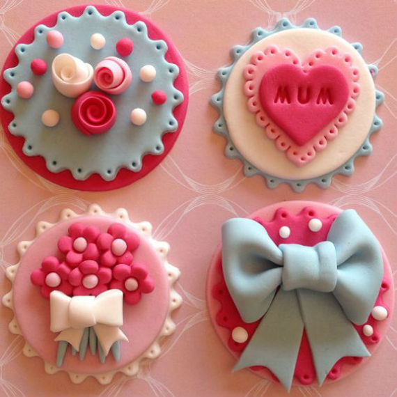 Fondant edible Mothers Day cupcke toppers