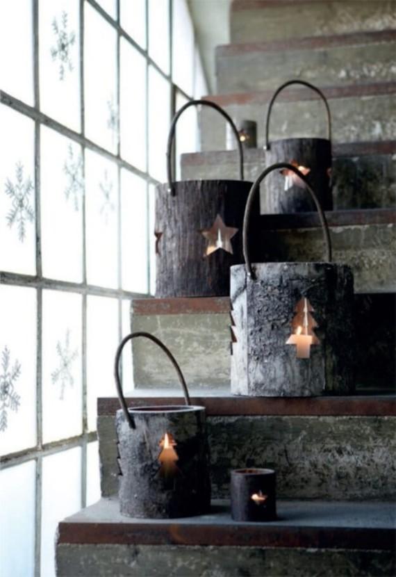 Carve Wood Lanterns Staircase Décor