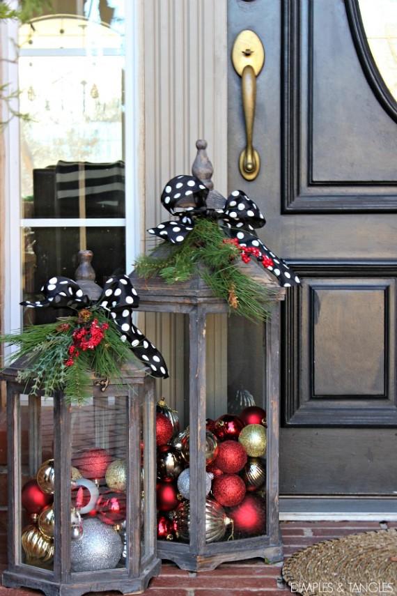 Front Door Festive Oversized Wooden Lanterns