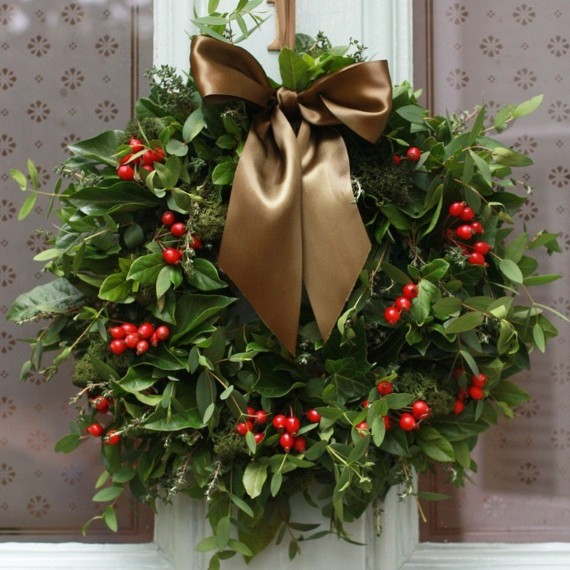 mistletoe wreath tie color brown