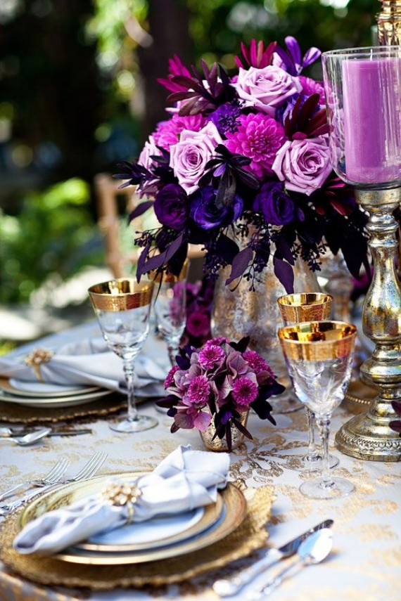 romantic table setting is by the garden
