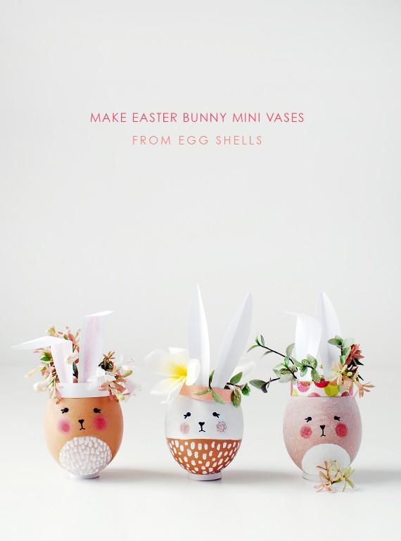Osterhase-Vasen-aus Eierschalen