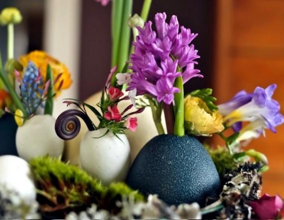 Ostern Dekorationen Ideen mit Eierschalen und Blumen