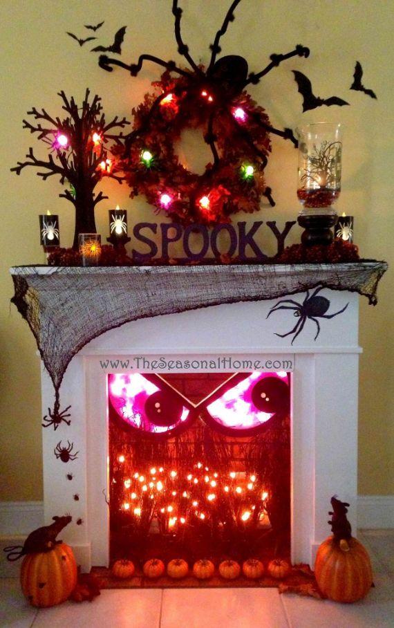 _ndoor-halloween-decorations-ideas-Spooky Fireplace