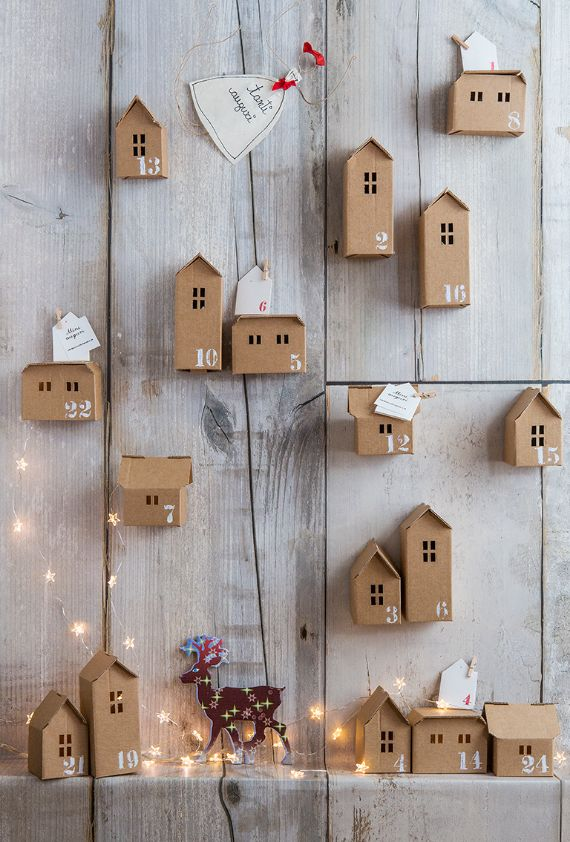 A DIY HANGING CHRISTMAS TOWN -ADVENT CALENDARS