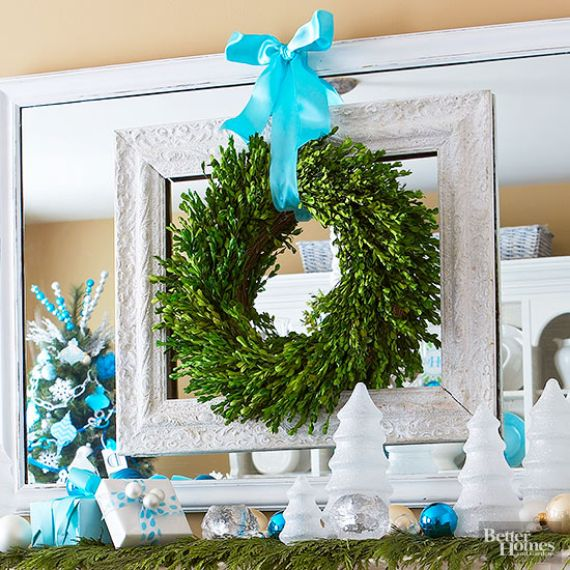 A Very Merry Bold Blue Christmas Mantel