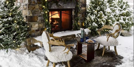 Chic Outdoor Fireplace Christmas Decorations;