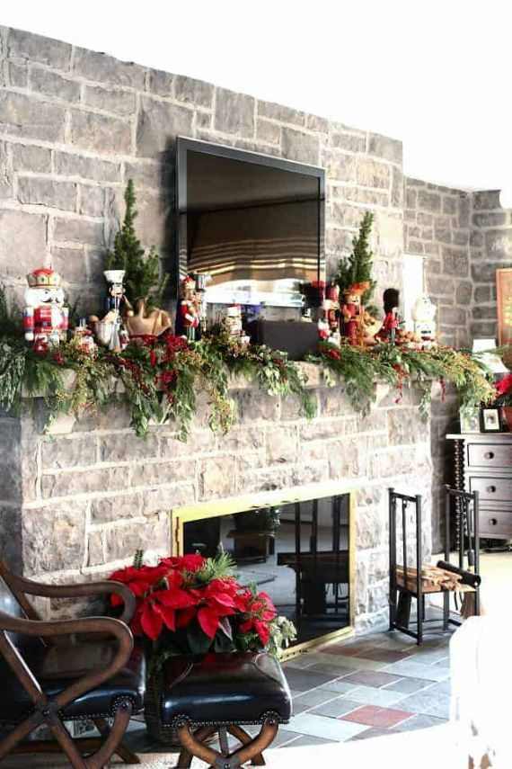 Christmas mantel ideas with tv above