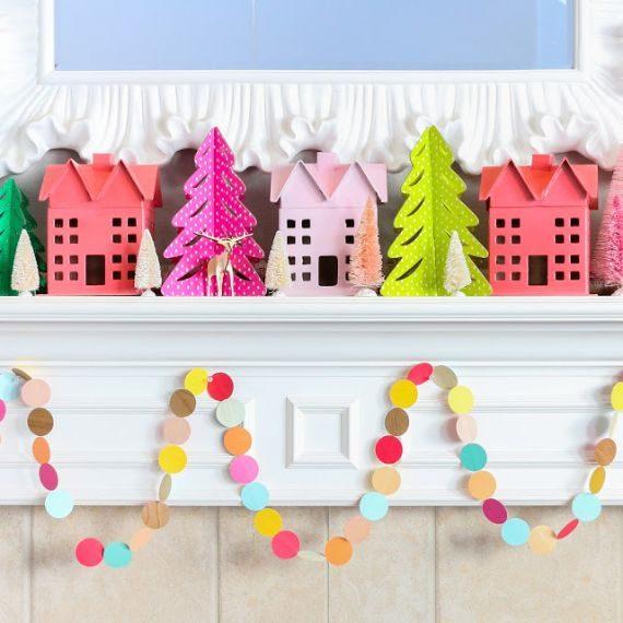 Colorful Christmas Mantel