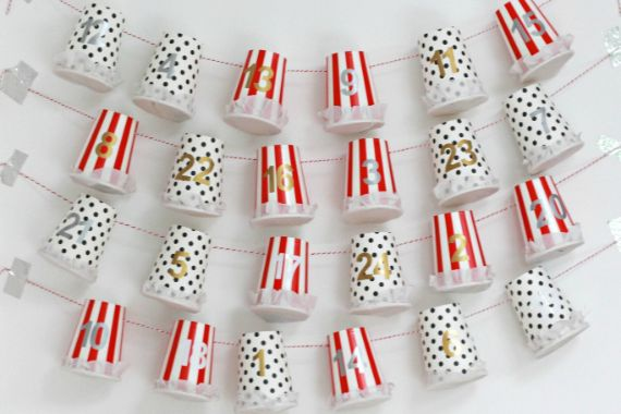 DIY ADVENT CALENDARS WITH DISPOSABLE CUPS