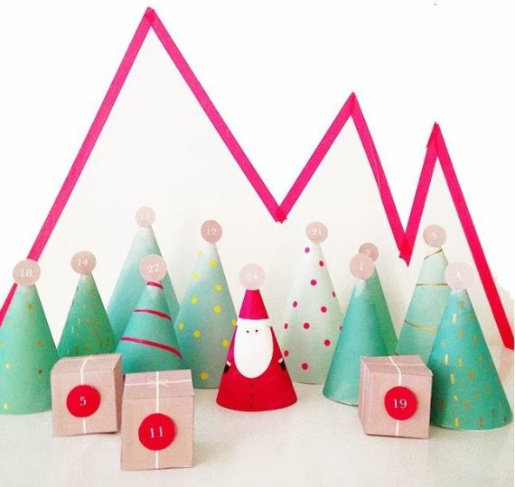 DIY ADVENT CALENDARS WITH PAPER TREES;