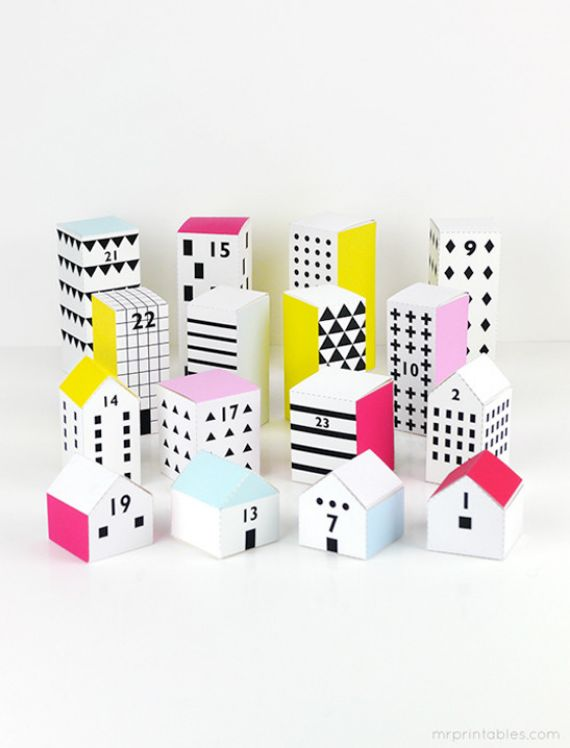 DIY ADVENT CALENDERS WITH PAPER HOUSES