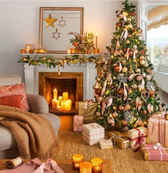 Place the Christmas tree by the fireplace