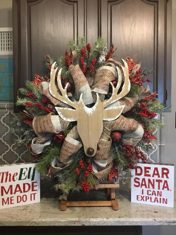 Rustic Door Decor, xmas Wreath