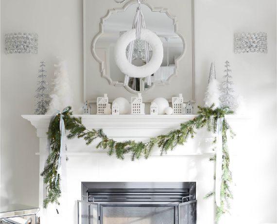 White-Christmas-mantel-decorating-ideas