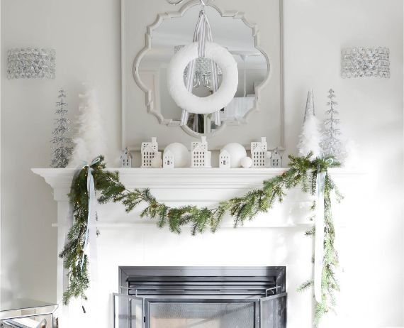 White Christmas mantel decorating ideas (1)