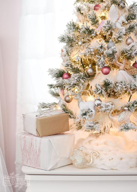 Blush-pink-gold-silver-flocked-fairy-tale-christmas-tree-idea