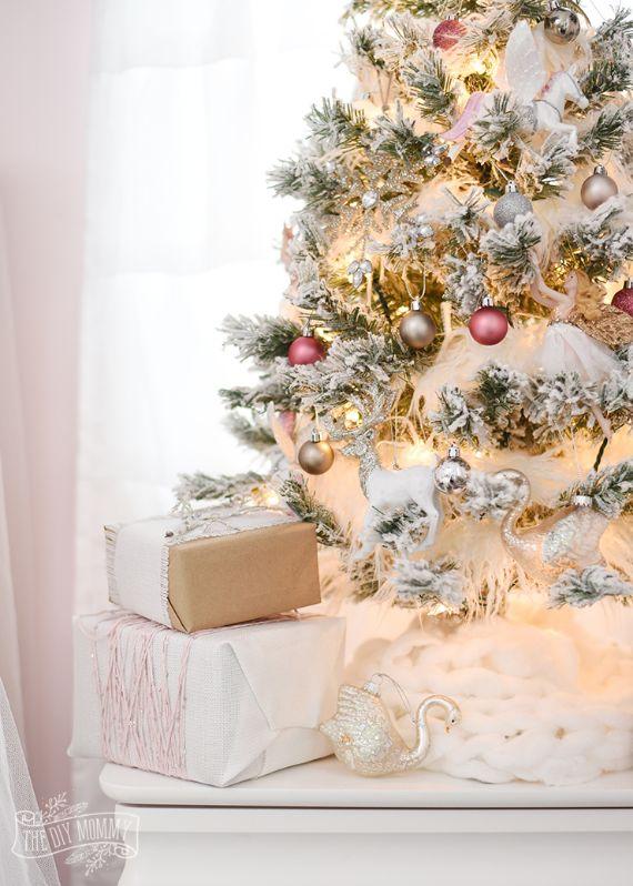 Blush-pink-gold-silver-flocked-fairy-tale-christmas-tree-idea