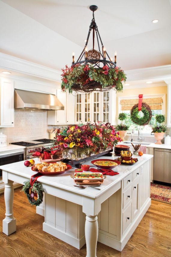 kitchen is bursting with holiday cheer