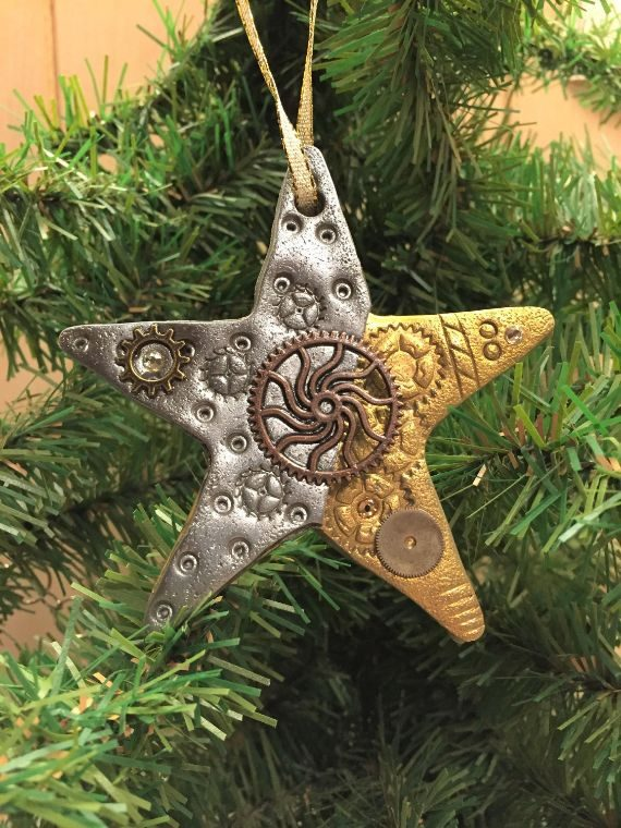 Steampunk Star Holiday Ornament - Industrial Christmas Tree