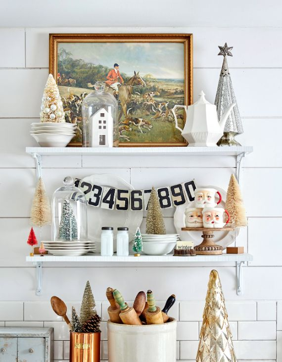add Christmas cheer to the kitchen shelf