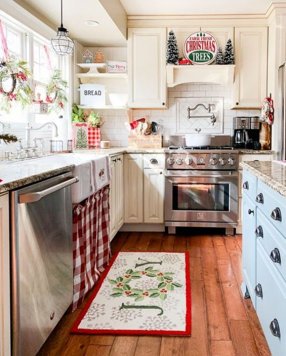 red-green-and-white-Christmas-decor-and-signage-plus-evergreens-berries-and-plaid-for-holiday-decor