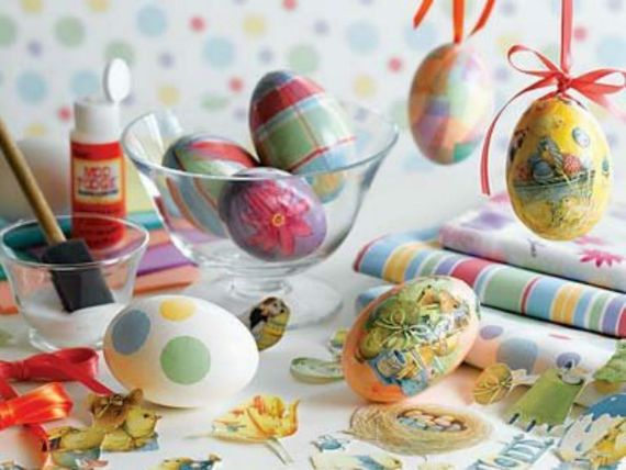 Colorful Decoupage Easter Eggs