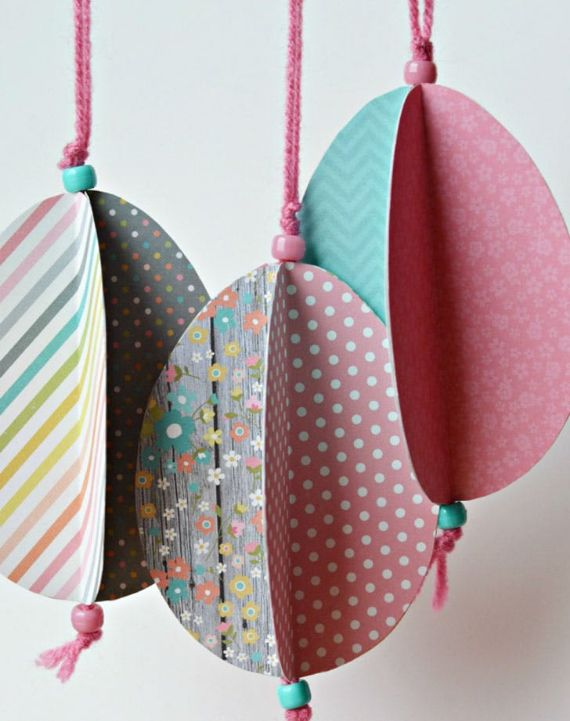 Hanging Paper Easter Eggs Garland