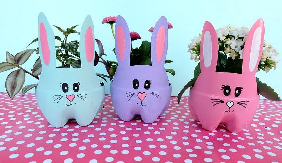 DIY Easter Bunny Planters are made using recycled pop bottles (1)