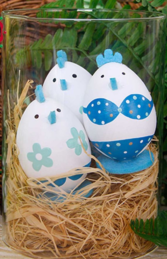 Easter Eggs Ornament Bikini Chick Design Easter Toy Gift Blue (1)