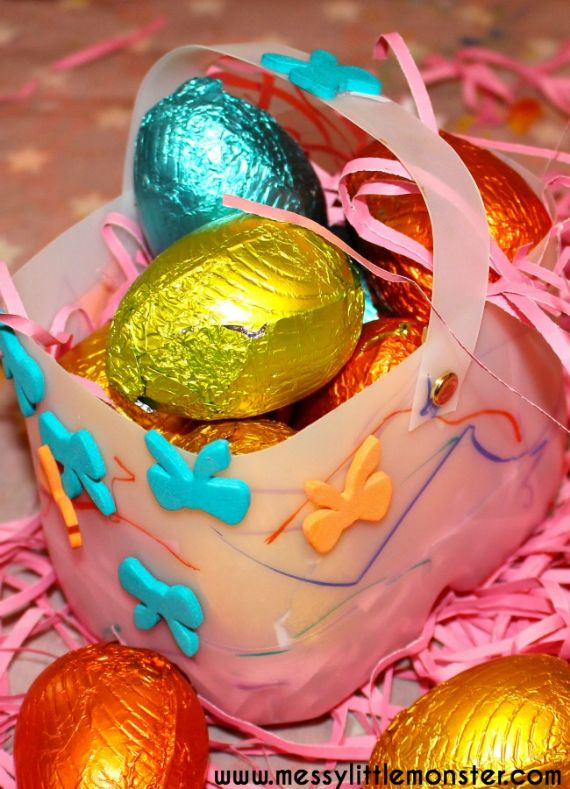 easter basket from a milk bottle (1)