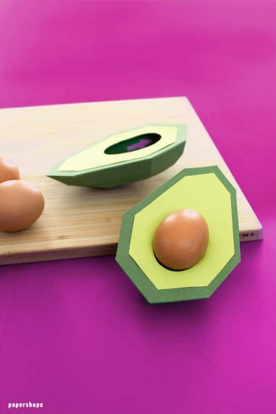 _paper origami avocado egg holders