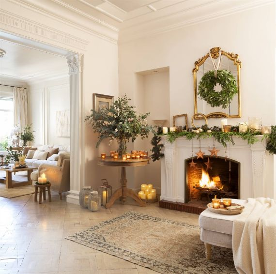 Wreath Above Fireplace Mantel