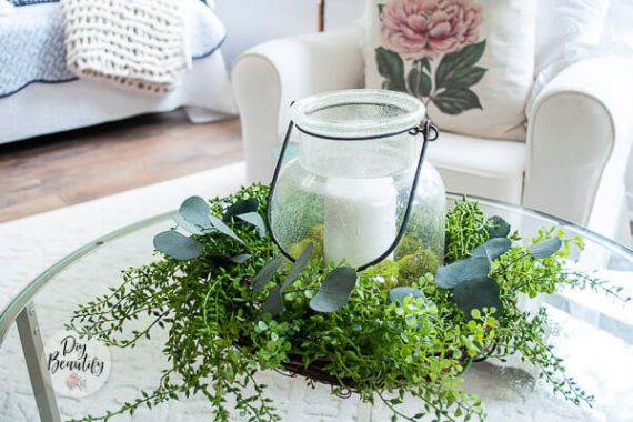 TABLETOP WREATH CENTERPIECE WITH FAUX GREENERY